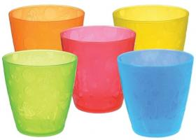 5 MULTI-COLOURED CUPS  (8OZ/237ML)