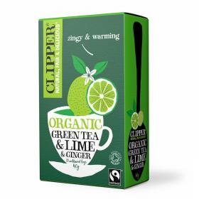 Organic Fairtrade Green Tea with Lime and Ginger 20 bags